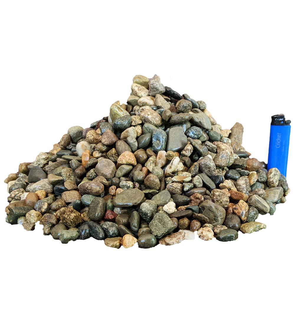 Галька окатанная речная серая в мешках фр. 10-20 мм